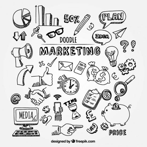Confezione di scarabocchi di marketing per infografica Vettore Premium