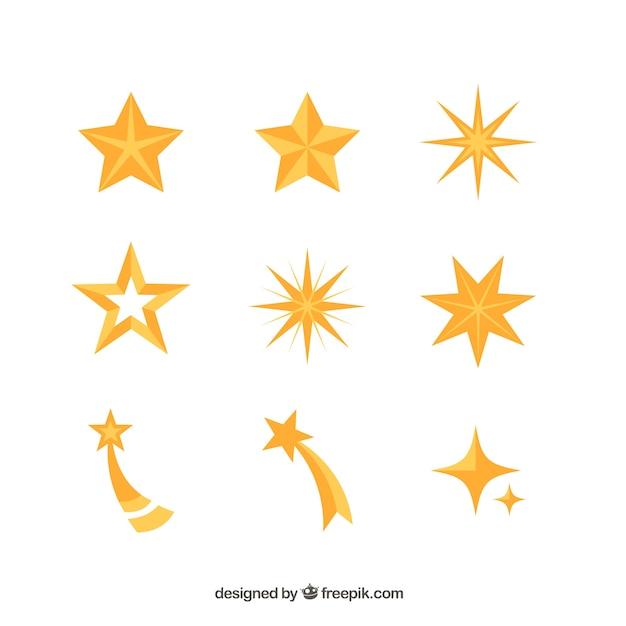 Confezione di stelle decorative Vettore gratuito