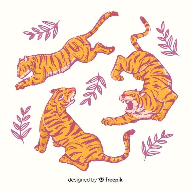 Confezione di tigri disegnate a mano Vettore gratuito