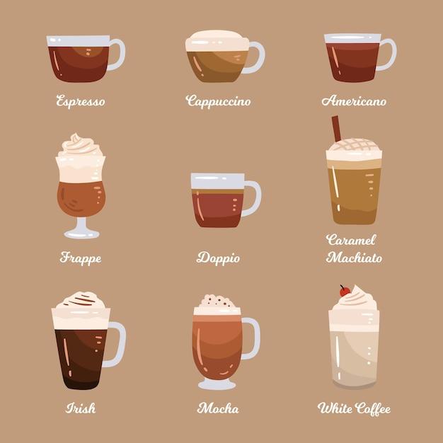 Confezione di tipi di caffè Vettore gratuito