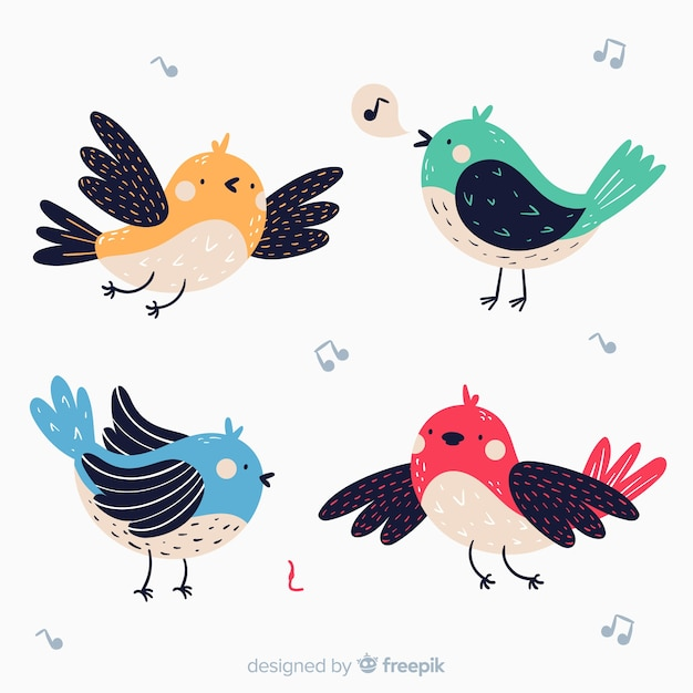Confezione di uccelli disegnati a mano Vettore gratuito