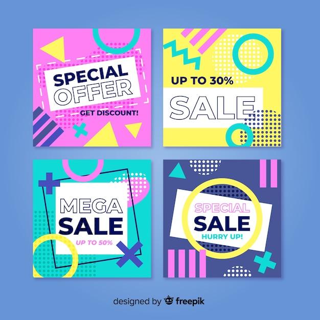 Confezione di vendita colorato banner stile memphis Vettore gratuito