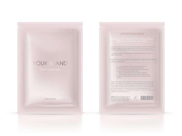 Confezione in bianco, bustina monouso per maschera facciale o shampoo Vettore gratuito