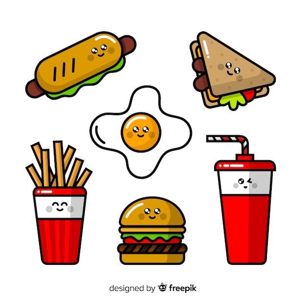 Confezione kawaii di fast food disegnata a mano Vettore gratuito