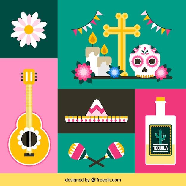 Confezione moderna di elementi messicani piatti Vettore gratuito