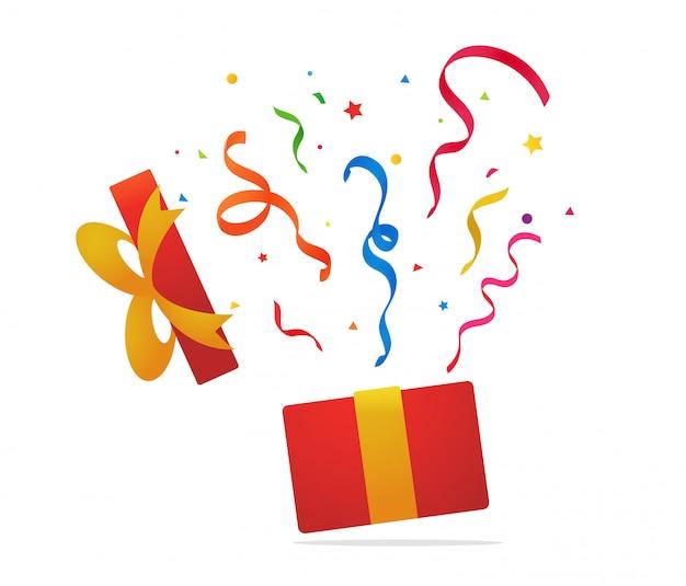 Confezione regalo a sorpresa la confezione regalo si aprì e coriandoli volarono nel cielo. Vettore Premium