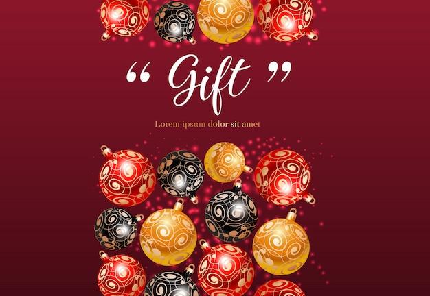 Confezione regalo con motivo a baubles Vettore gratuito