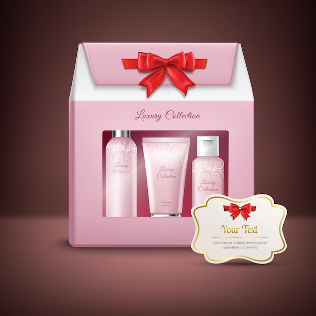 Confezione regalo cosmetici Vettore gratuito