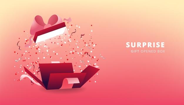 Confezione regalo rossa a sorpresa con nastro rosa e coriandoli. scatola regalo aperta festa, poster dello shopping. design di san valentino. Vettore Premium