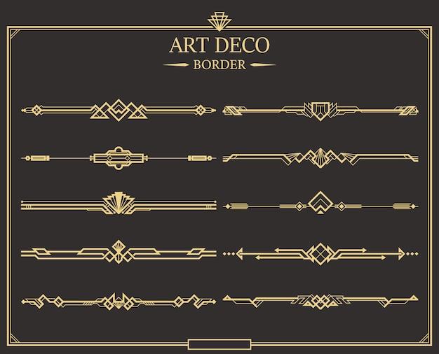 Confine art deco Vettore Premium