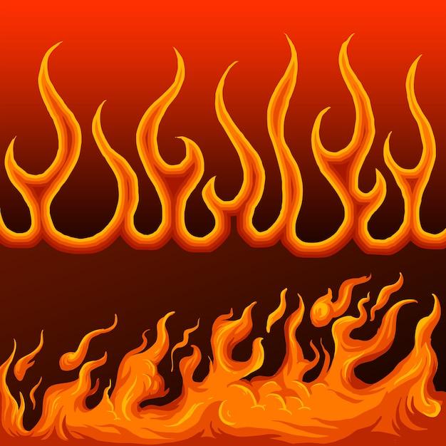 Confine di fuoco disegnato a mano Vettore Premium
