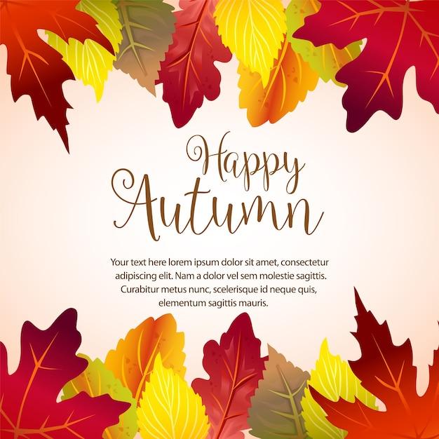 Confine felice autunno con foglie di foresta Vettore Premium
