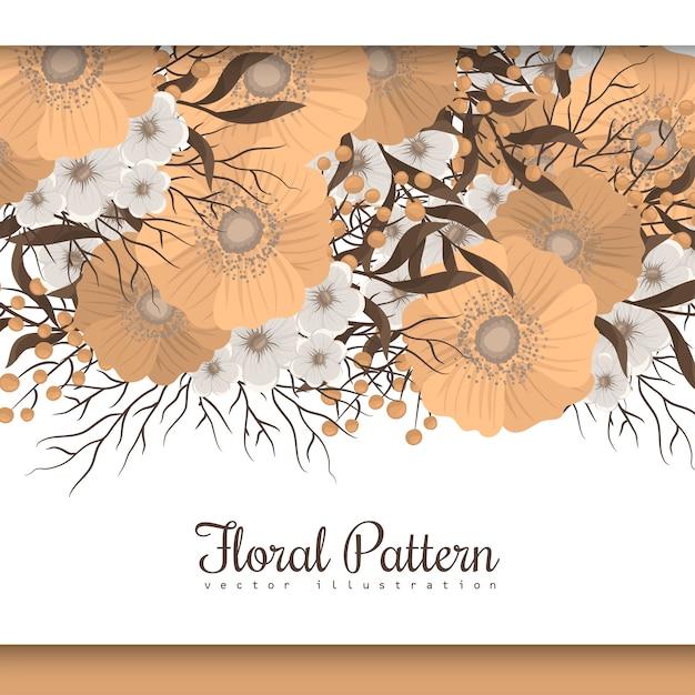 Confine floreale giallo del fiore del fondo Vettore gratuito