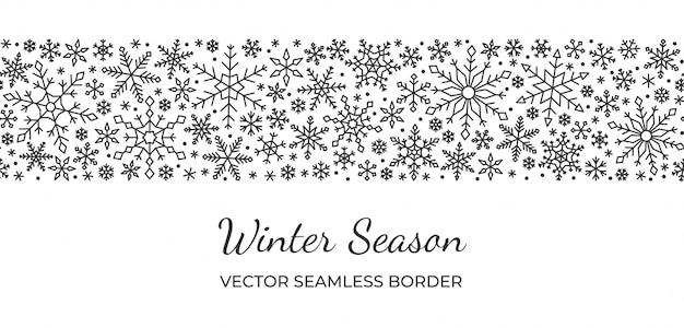Confine senza cuciture del fiocco di neve, natale, nuovo anno, modello della neve di inverno, linea su fondo bianco. Vettore Premium