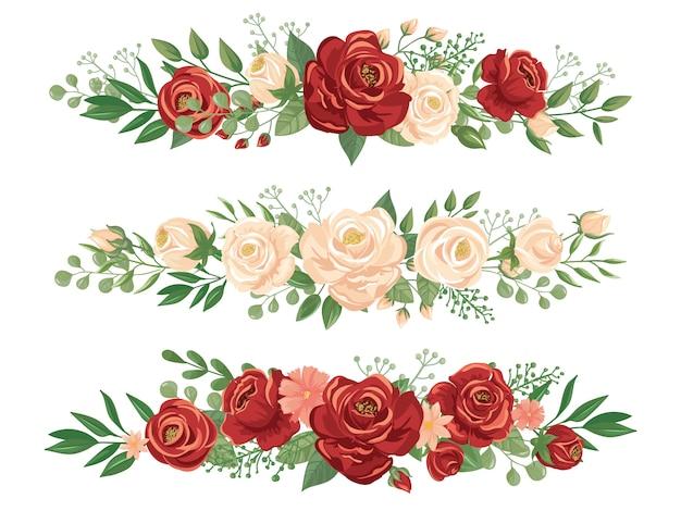 Confini di fiori panoramici. illustrazione floreale di vettore dell'insegna di panorama dell'intestazione delle rose, del confine del fiore e del germoglio Vettore Premium