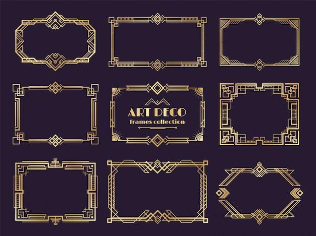 Confini in stile art deco. cornici dorate degli anni 1920, stile geometrico di lusso nouveau, ornamento astratto vintage. elementi di art deco Vettore Premium