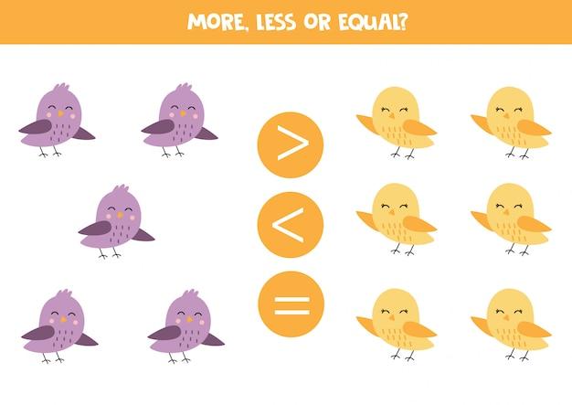 Confronta quanti uccelli ci sono. più o meno. Vettore Premium
