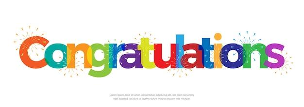 Congratulazioni colorate con fuochi d'artificio su sfondo bianco Vettore Premium