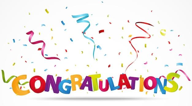 Congratulazioni con i coriandoli Vettore Premium