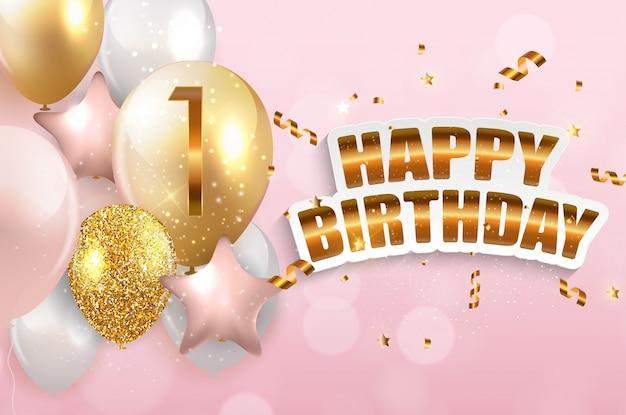 Congratulazioni di anniversario di 1 anno del modello, cartolina d'auguri con l'illustrazione di vettore dell'invito dei palloni Vettore Premium