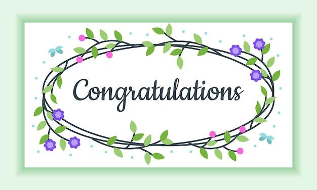 Congratulazioni floral frame greeting card, assolutamente bello e affascinante Vettore Premium