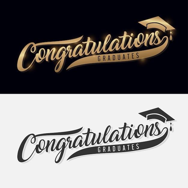 Congratulazioni laurea. lettering calligrafia. frase scritta a mano con testo oro Vettore Premium