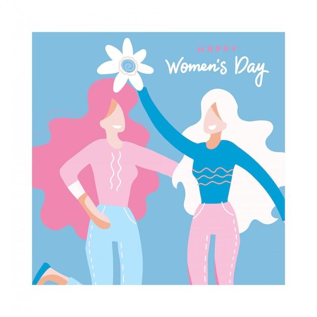 Congratulazioni per la giornata internazionale della donna con due donne in possesso di un grande fiore, ragazze che abbracciano. Vettore Premium