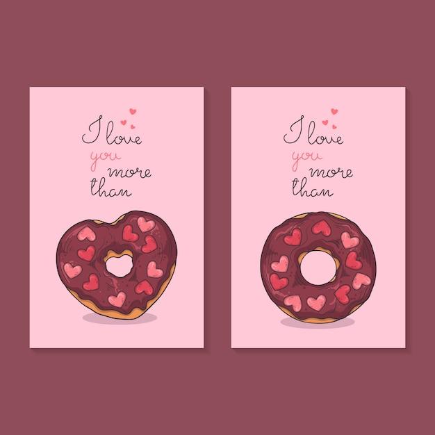 Congratulazioni per san valentino. carte con ciambelle. Vettore Premium