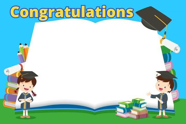 Congratulazioni studenti e grandi libri Vettore Premium