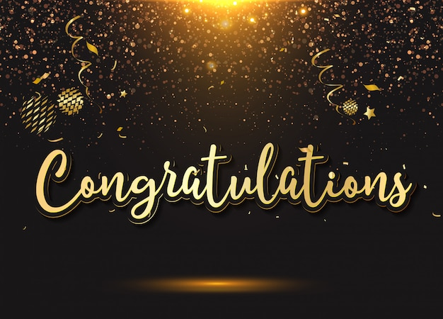 Congratulazioni: tipografia, scritte, scritte a mano con palloncini, coriandoli ed elementi festivi, Vettore Premium