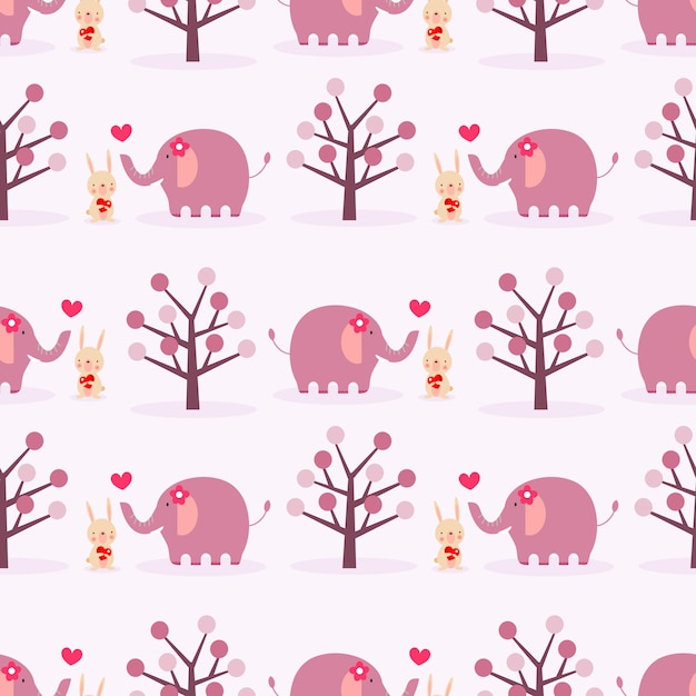 Coniglietto carino ed elefante in amore senza cuciture. Vettore Premium