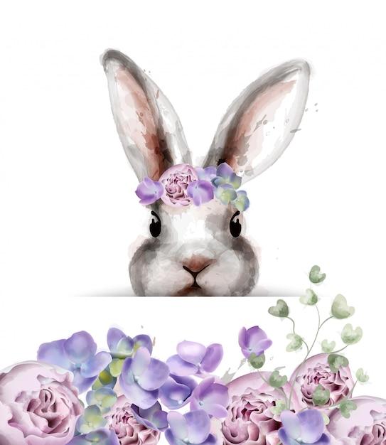 Coniglietto con acquerello di fiori Vettore Premium