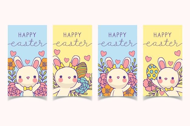 Coniglietto con farfallino instagram collezione pasqua Vettore gratuito