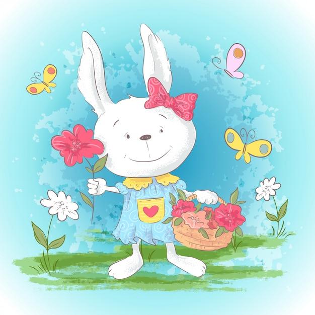Coniglietto del fumetto sveglio della cartolina dell'illustrazione con i fiori e le farfalle Vettore Premium