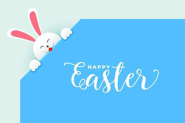Coniglietto di coniglio carino che fa capolino fuori poster di giorno di pasqua Vettore gratuito