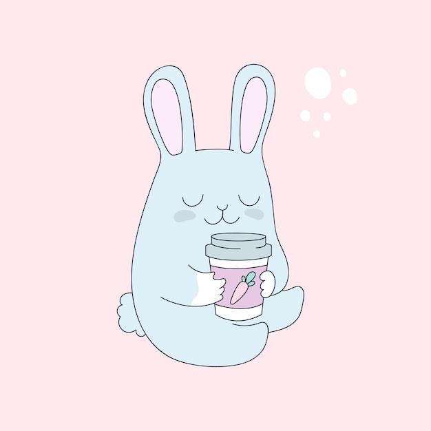 Coniglietto divertente con una tazza di tè, caffè Vettore Premium