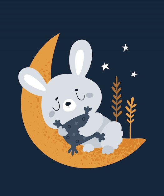Coniglietto dorme sulla luna. buona notte e sogni d'oro piccolo Vettore Premium
