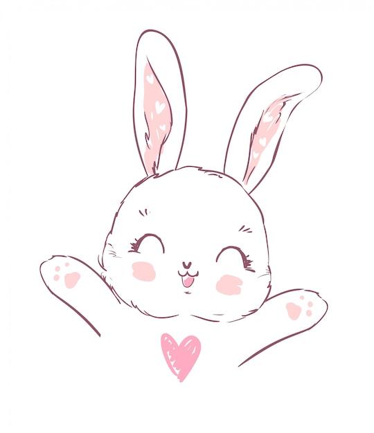 Coniglietto simpatico cartone animato disegnato a mano Vettore Premium