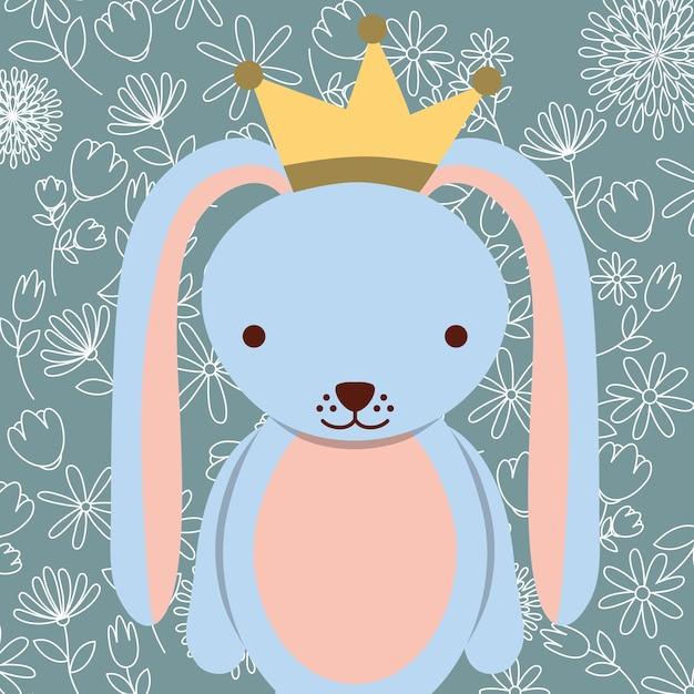 Coniglio carino blu con sfondo floreale corona Vettore Premium