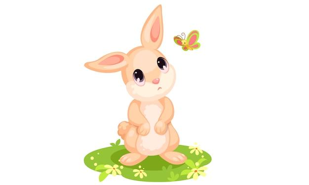Coniglio carino guardando cartoon farfalla Vettore gratuito