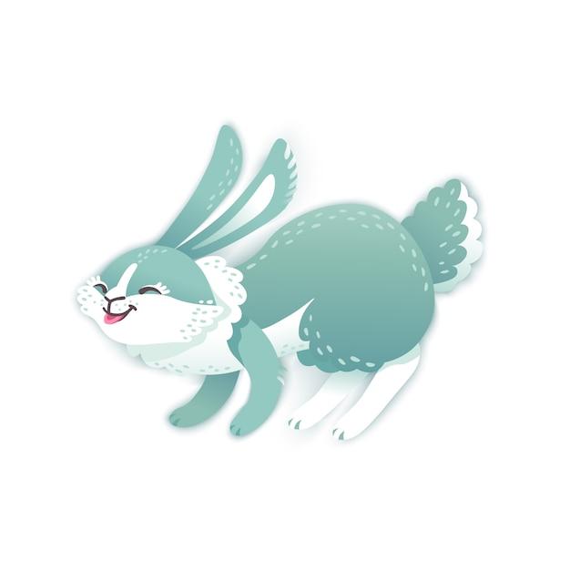 Coniglio cartone animato sorridente. coniglio divertente. lepre carina Vettore Premium