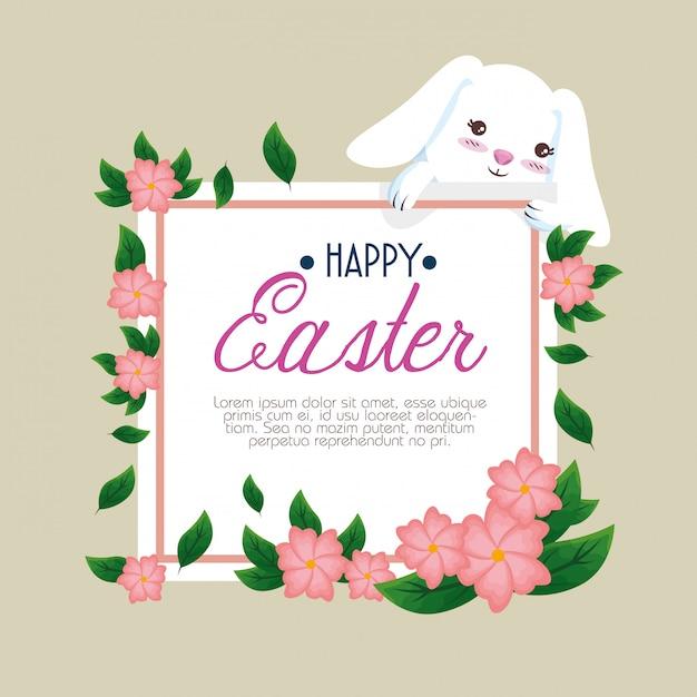 Coniglio con felice carta di pasqua e fiori Vettore gratuito