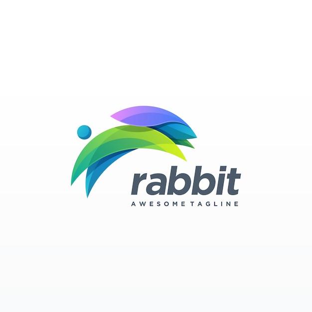 Coniglio design colorato. Vettore Premium