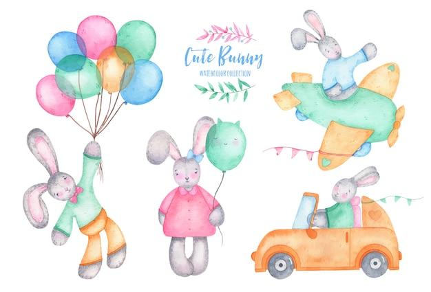 Coniglio di coniglietto sveglio di buona pasqua dell'acquerello con gli aerostati sull'automobile e sull'aereo Vettore gratuito