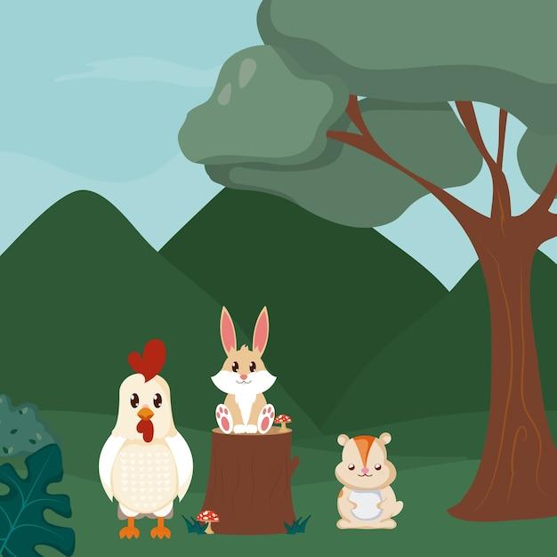 Coniglio e castoro del gallo ai cartoni animati animali della