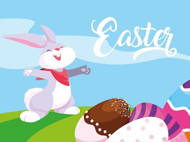 Coniglio e uova di pasqua decorate con caramelle Vettore Premium