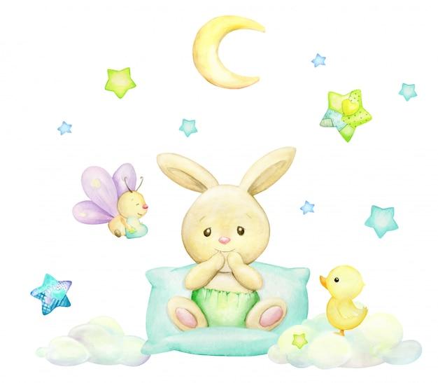 Coniglio, farfalla, luna, stelle, nuvole, anatroccolo, stile cartoon. clipart dell'acquerello su una priorità bassa isolata. Vettore Premium