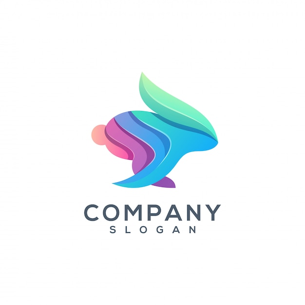 Coniglio logo design colorato Vettore Premium