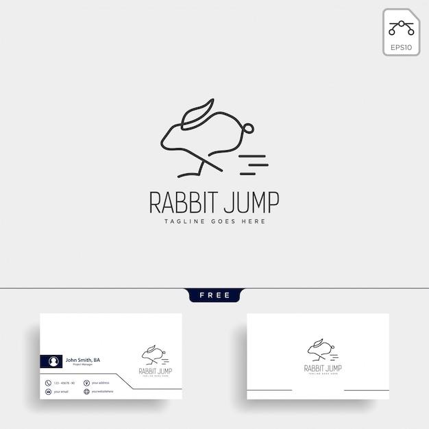 Coniglio o coniglietto salto logo stile linea arte animale Vettore Premium