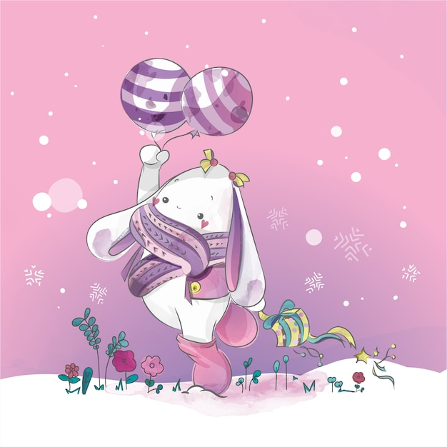 Coniglio sveglio con acquerello blu del giorno di natale del loon di doodle. Vettore Premium